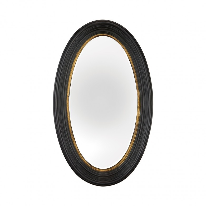 OVAL MIRROR WITH WOOD FRAME