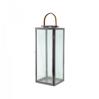 METALIC LANTERN WITH LEATHER HANDLE