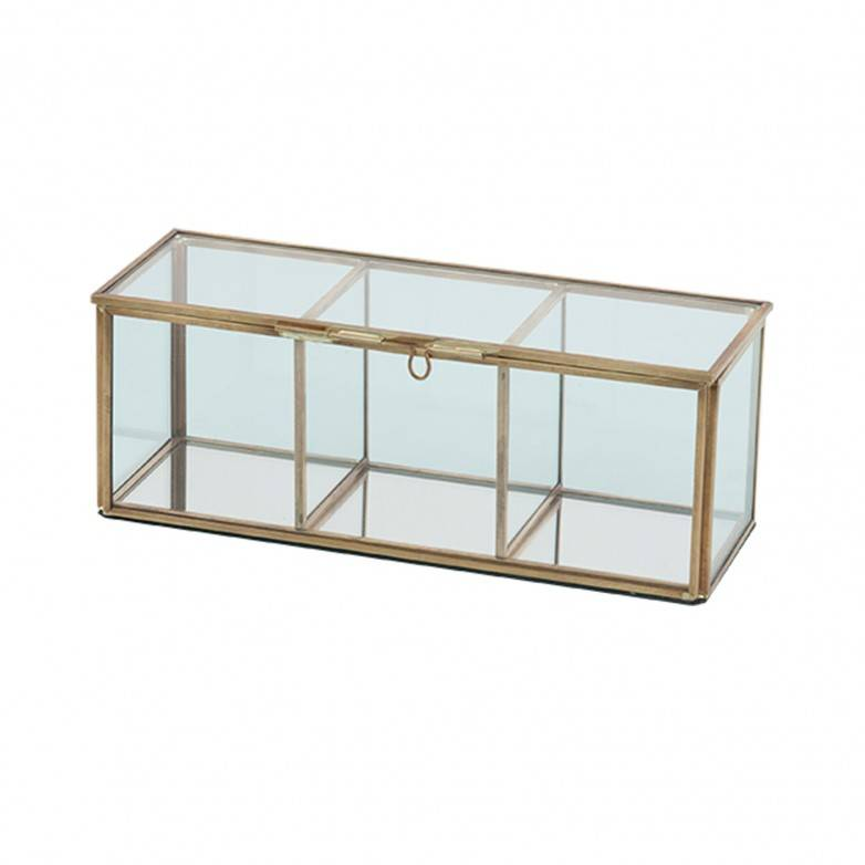 DECORATIVE METAL AND GLASS BOX 23