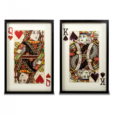 SET 2 FRAMES KING SPADE-QUEEN HEART