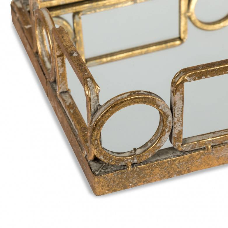 TRAY METAL AND MIRROR RUST EFECT 45