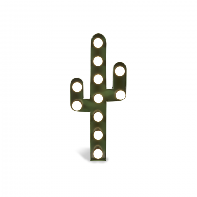 LAMPARA DECORATIVA CACTUS METAL VERDE