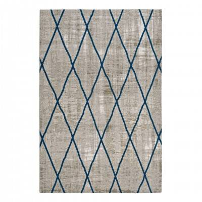 SILVER & BLUE ANTIK CHENILLE CROSS RUG