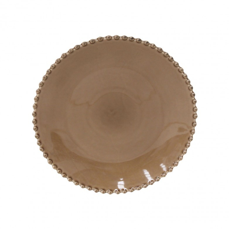 SET OF 6 PEARL BROWN DINNER PLATES