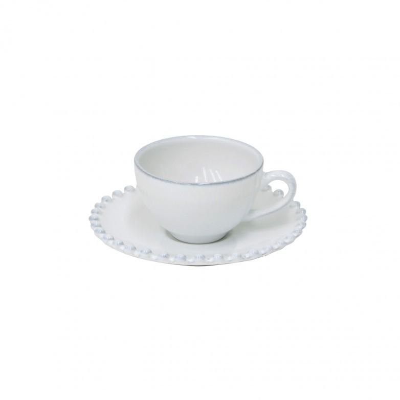 PEARL WHITE COFFEE CUP & SAUCER - COSTA NOVA