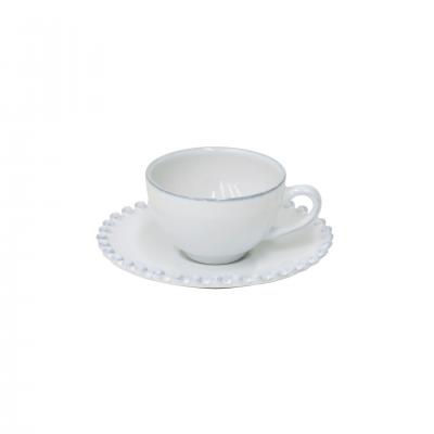 6 PEARL WHITE COFFEE CUPS & SAUCER - COSTA NOVA