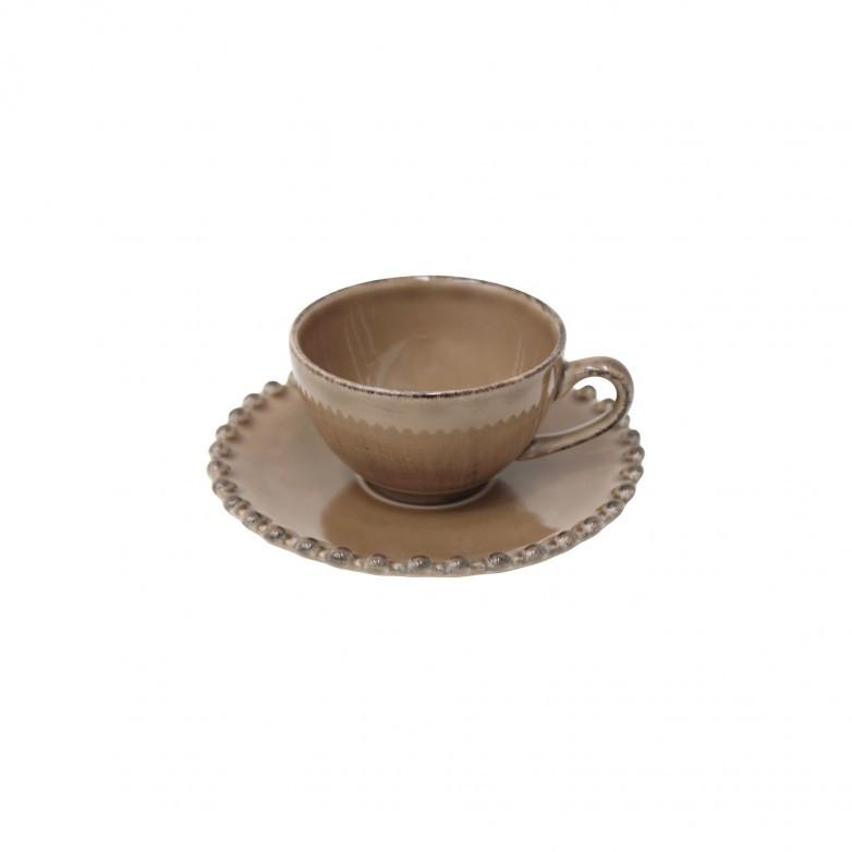 SET OF 6 PEARL BROWN COFFEE CUPS & SAUCER