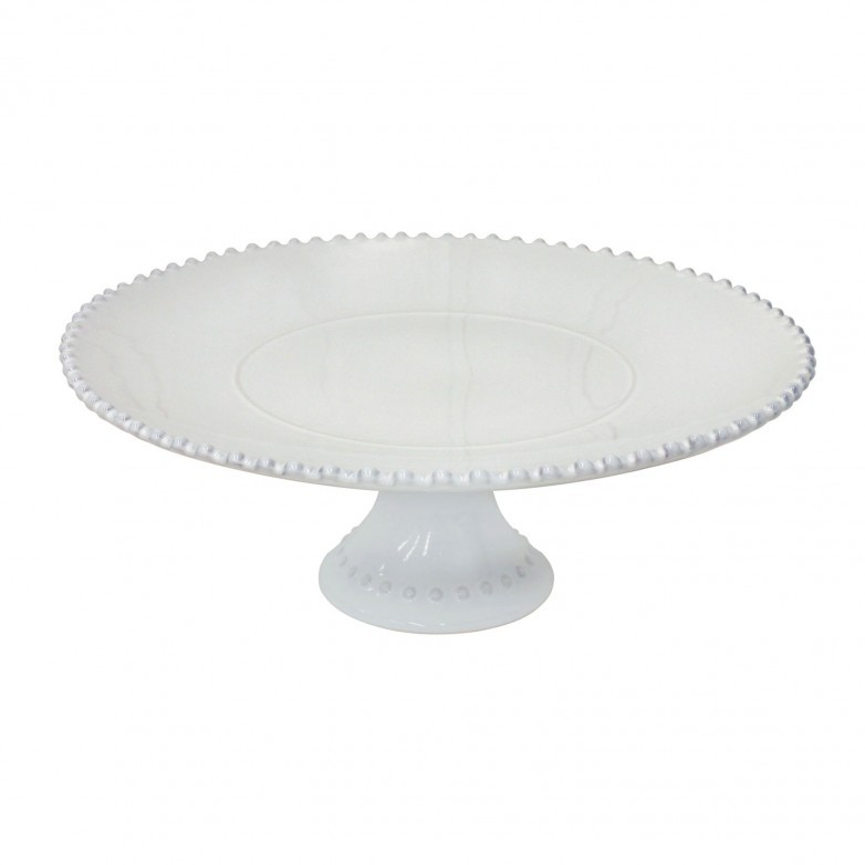 PEARL WHITE 33CM FOOTED PLATE - COSTA NOVA