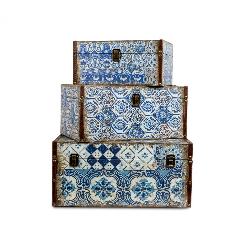 SET 3 CAIXAS DECORATIVAS AZULEJO L