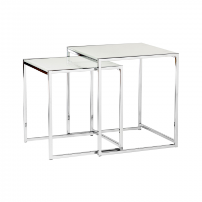 2 NIDO WHITE SIDE TABLES SET
