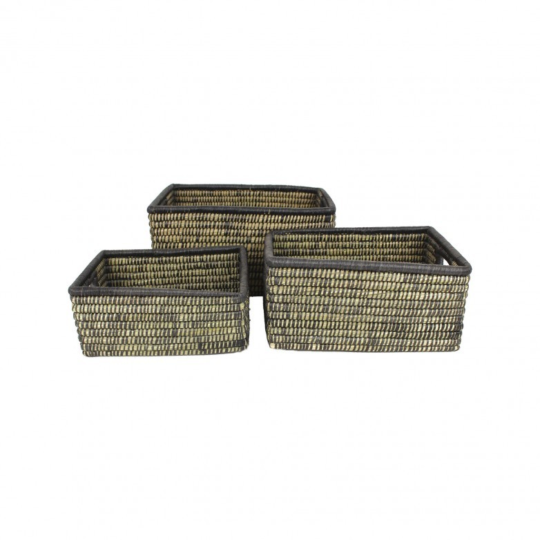 3 NATURE BLACK BASKETS SET