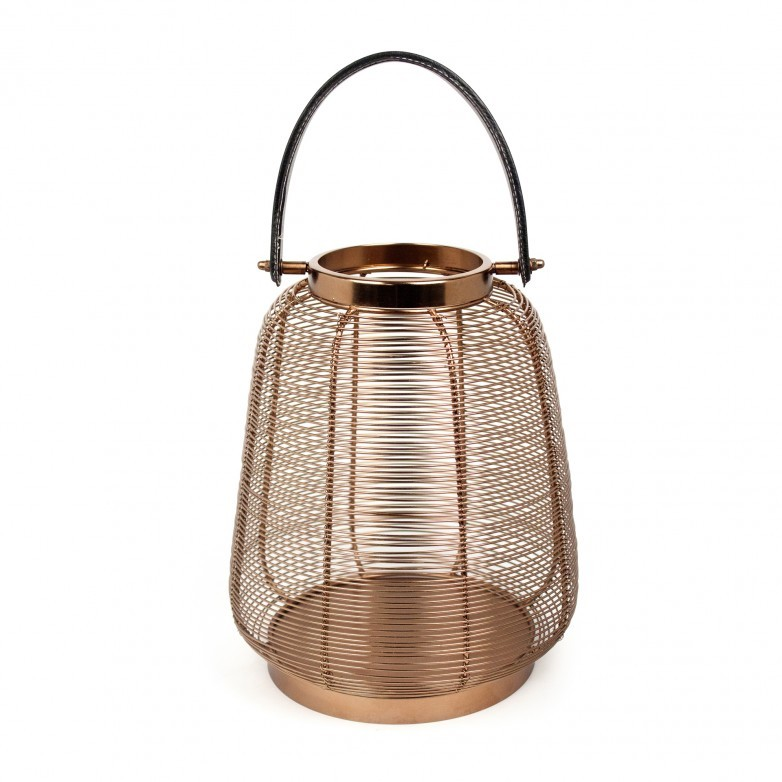 COPPER LANTERN WITH LEATHER HANDLE