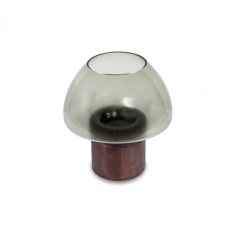 WOODEN BASE TEALIGHT HOLDER