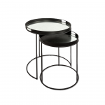 SET 2 SIDE TABLES METAL AND MIRROR