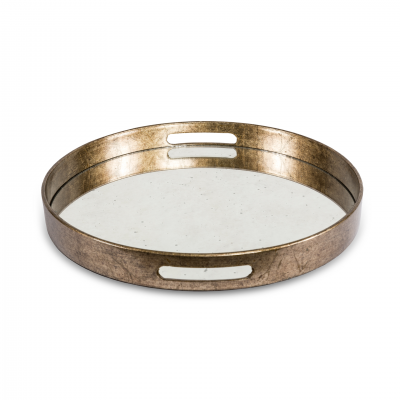 ROUND TRAY METAL AND MIRROR S
