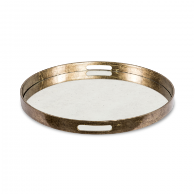 ROUND TRAY METAL AND MIRROR M