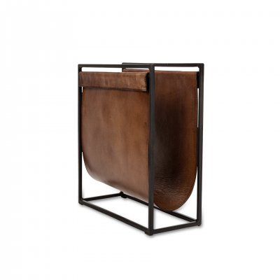 MAGAZINE RACK IRON AND LEATHER