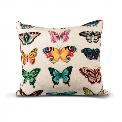 BUTTERFLY PATTERN CUSHION WITH PIPING