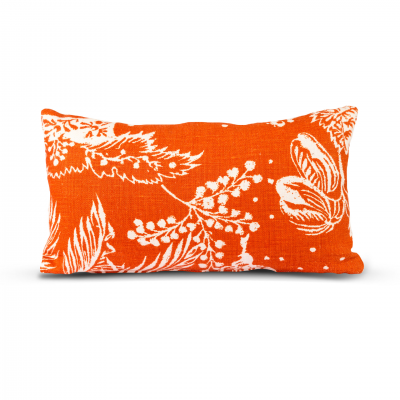 Orange Cushion with White Floral Pattern