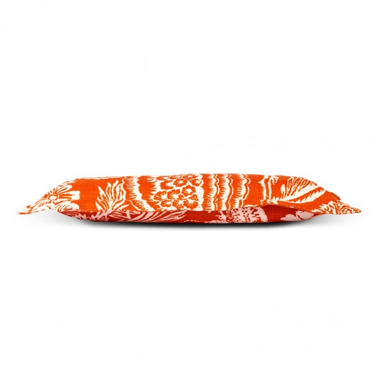 FLANGED CUSHION ORANGE AND WHITE FLORAL PATTERN