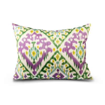 CUSHION PURPLE/GREEN ABSTRACT PATTERN