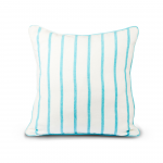 WHITE BLUE STRIPES CUSHION WITH PIPING