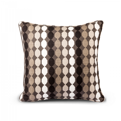 BROWN GEOMETRIC PATTERN CUSHION WITH PIPING