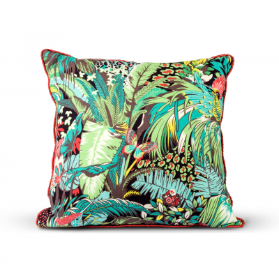 COLORFUL TROPICAL PATTERN CUSHION WITH PIPING