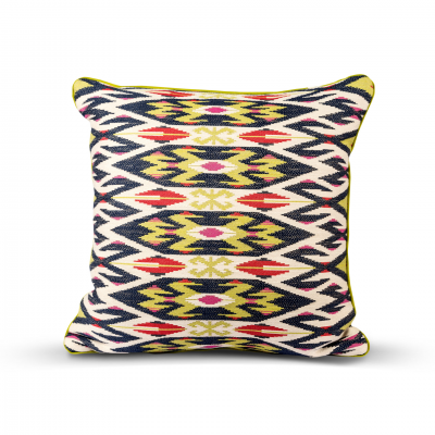 ETHNIC PATTERN CUSHION WITH PIPING