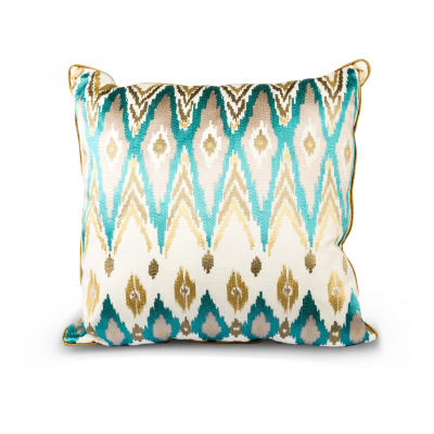 ETHNIC GEOMETRIC CUSHION BLUE/GOLD