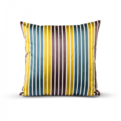 BLUE/YELLOW STRIPED CUSHION