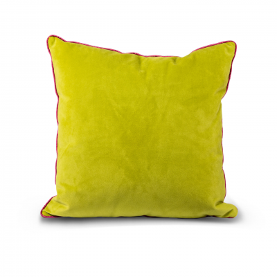 YELLOW CUSHION WITH PINK TRIMMING