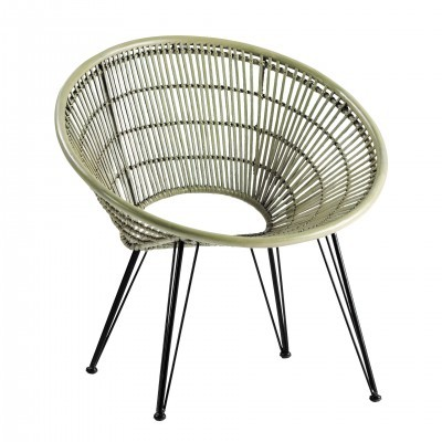 METAL AND RATTAN ARMCHAIR