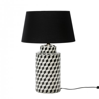 CERAMIC GEOMETRIC PATTERN TABLE LAMP