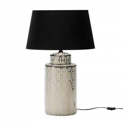 CERAMIC TABLE LAMP BASE WITH WHITE AND GOLD PRINT