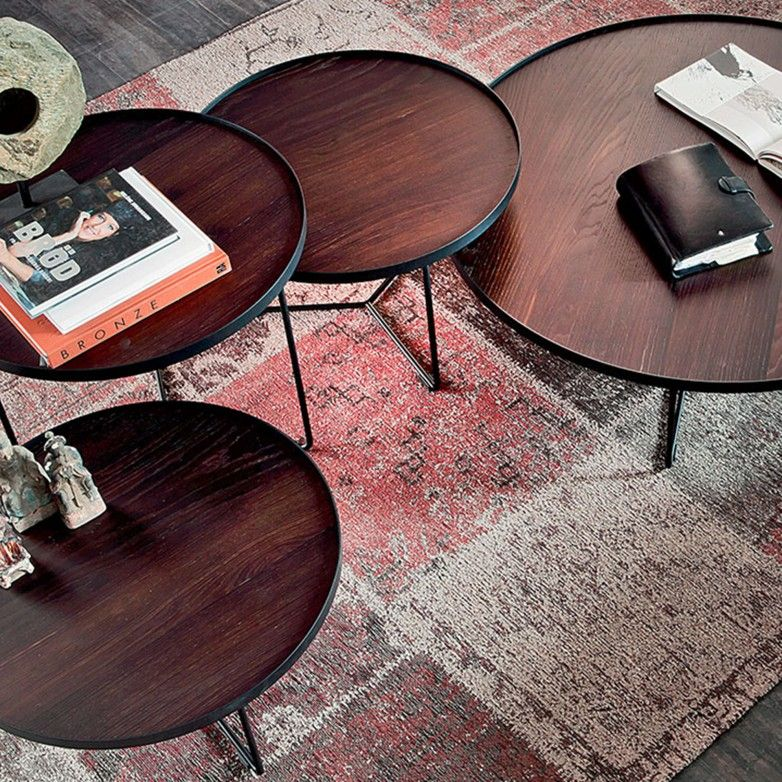 SET 3 BILLY WOOD SIDE TABLES - CATTELAN