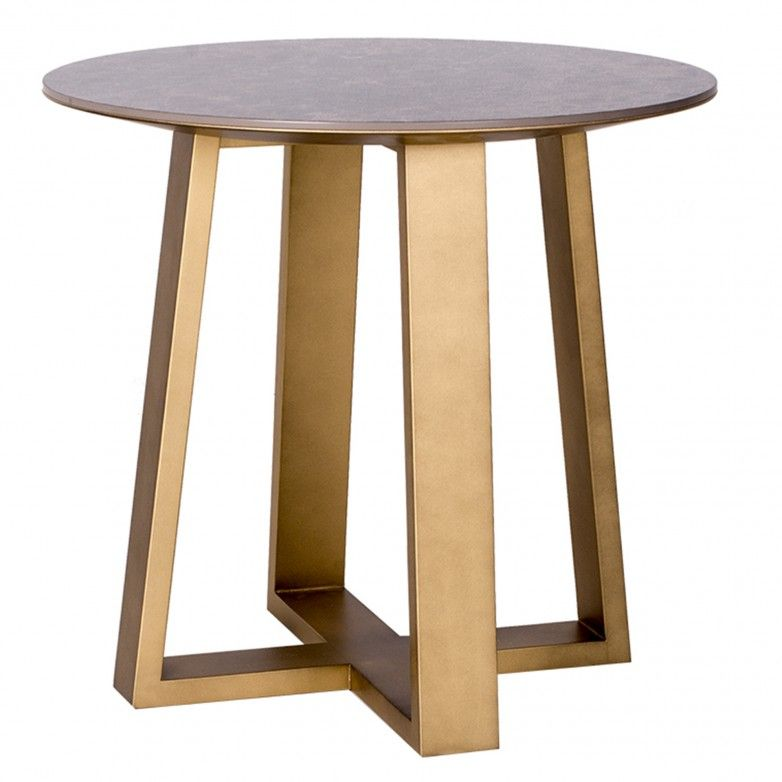 SMALL ROUND BRONZE SIDE TABLE