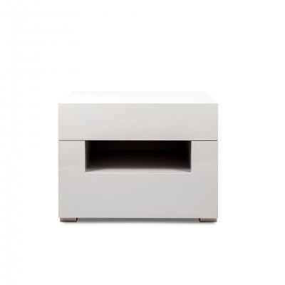 OSLO WHITE BEDSIDE TABLE