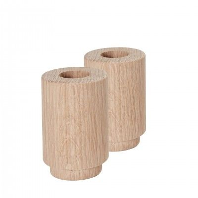 SET 2 CREATE ME OAK CANDLE HOLDER L