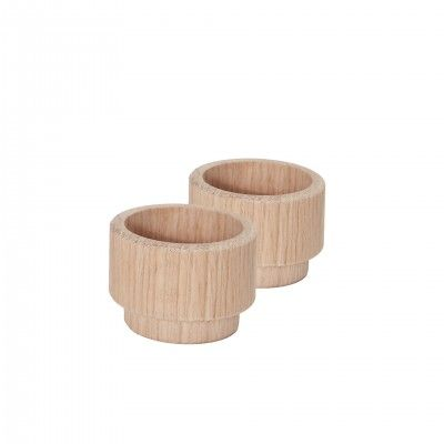 SET 2 CREATE ME OAK CANDLE HOLDER S