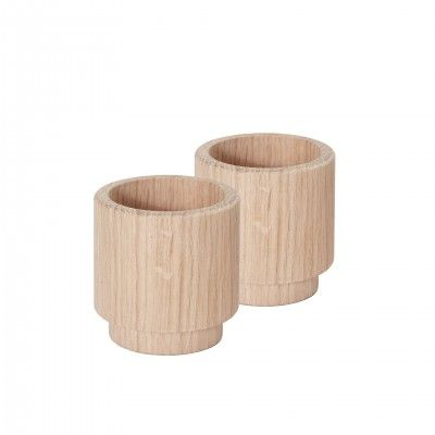 SET 2 CREATE ME OAK CANDLE HOLDER M