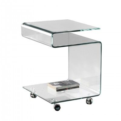 SQUARE TABLE WHEELS GLASS