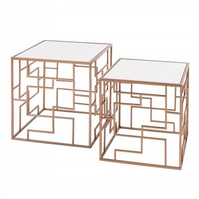 SET 2 SUSSEX GOLDEN SIDE TABLES