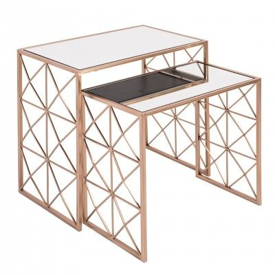 SET 2 HOVE GOLDEN SIDE TABLES