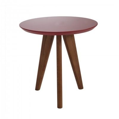 RED WOOD SIDE TABLE