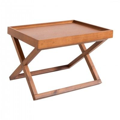 BROWN WOOD SIDE TABLE