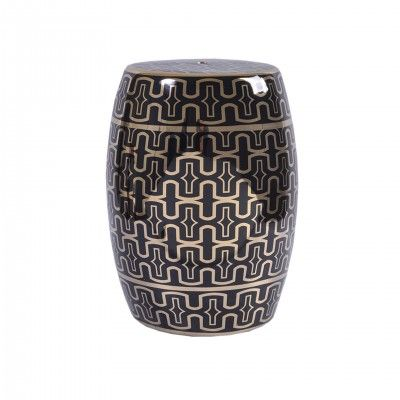 BLACK MOROCCO STOOL