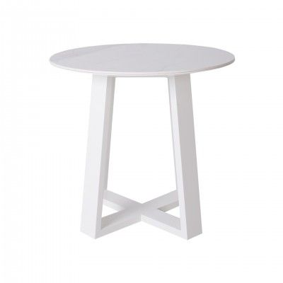 ROUND SMALL WHITE SIDE TABLE