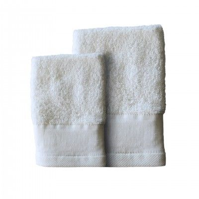 SET 3 LINEN WHITE BATH TOWEL