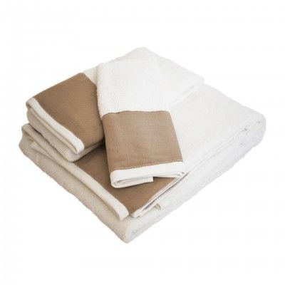 SET 3 LINEN BEIGE BATH TOWEL